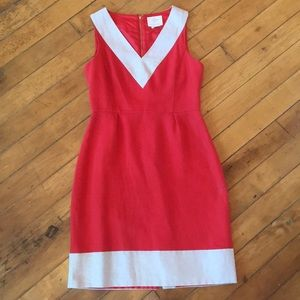 Kate Spade red and cream linen office dress